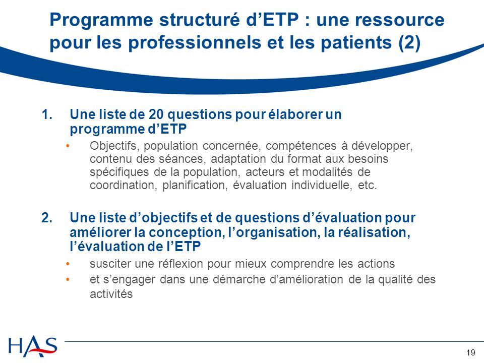 Programme structuré d'ETP : une ressource pour les professionnels et les patients (2)