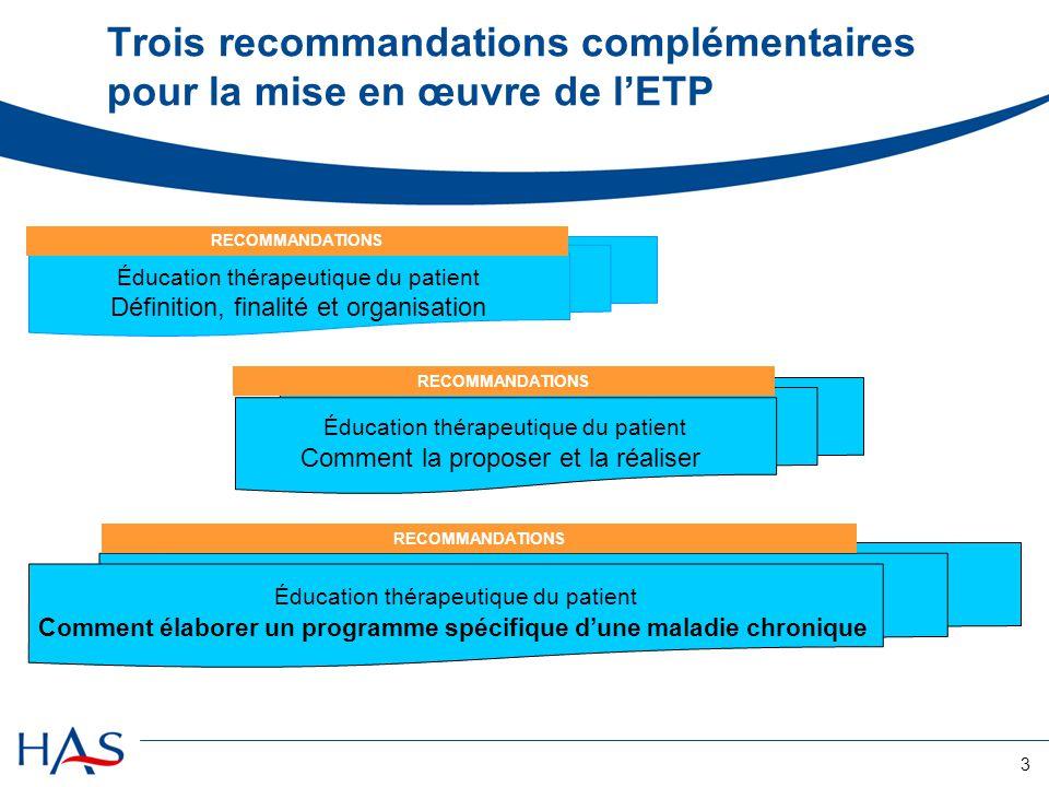 Trois recommandations complémentaires pour la mise en œuvre de l'ETP
