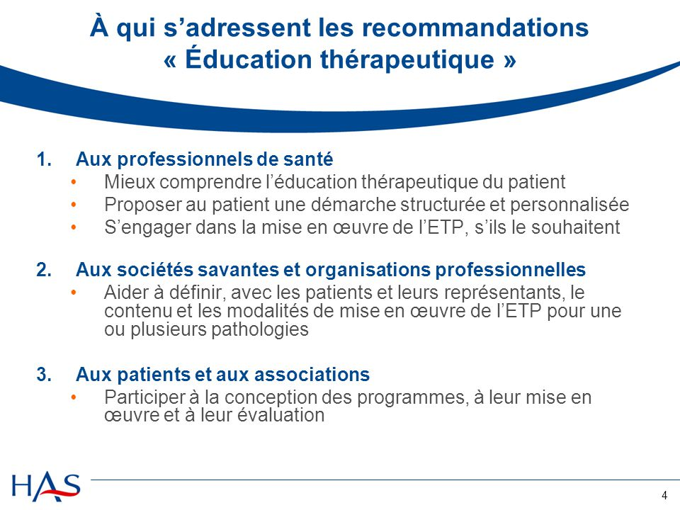 À qui s'adressent les recommandations « Éducation thérapeutique »