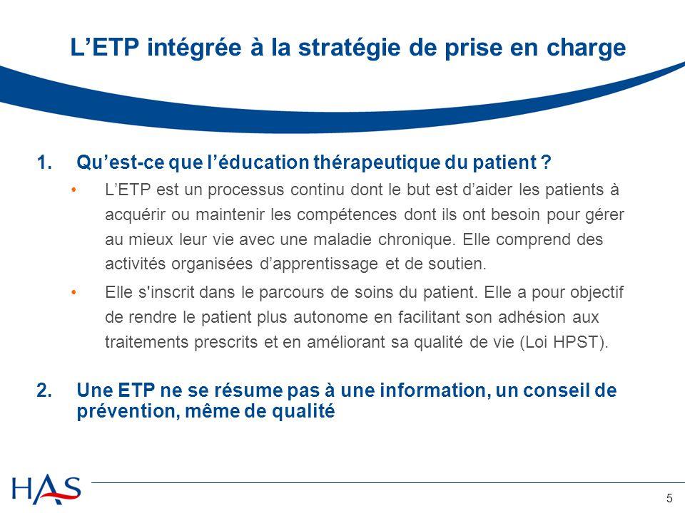 L'ETP intégrée à la stratégie de prise en charge