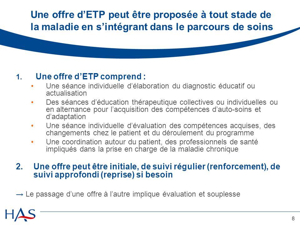 Une offre d'ETP peut être proposée à tout stade de la maladie en s'intégrant dans le parcours de soins