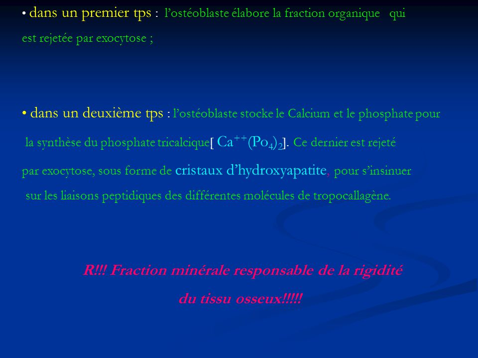R!!! Fraction minérale responsable de la rigidité
