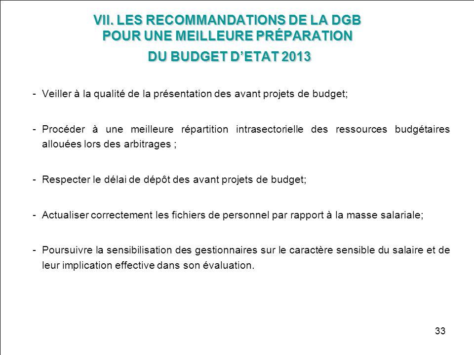 VII. LES RECOMMANDATIONS DE LA DGB POUR UNE MEILLEURE PRÉPARATION DU BUDGET D'ETAT 2013