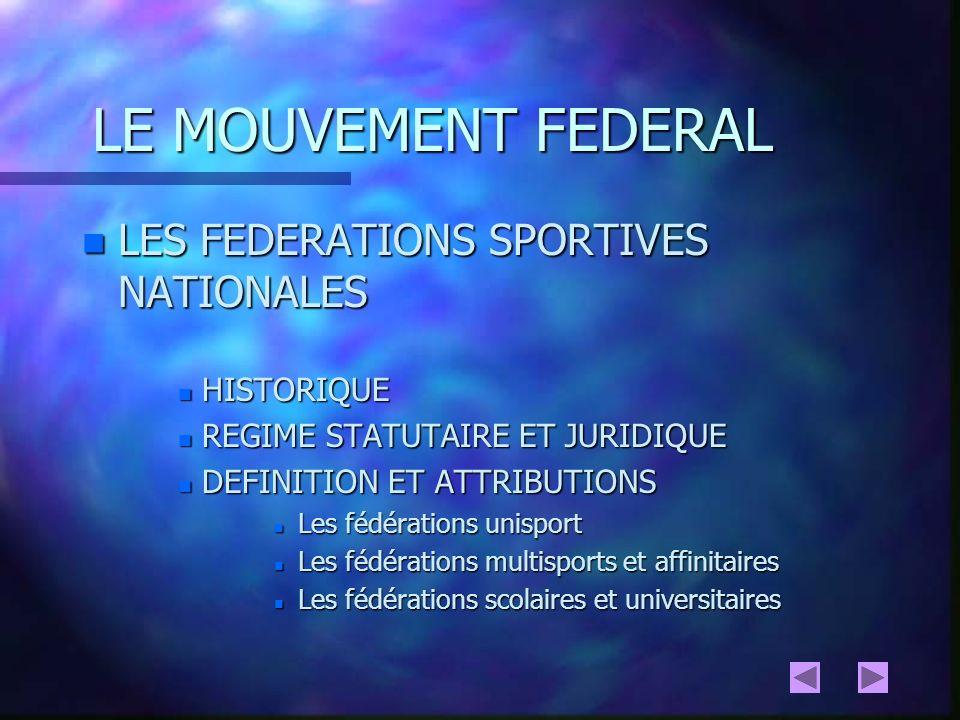 LE MOUVEMENT FEDERAL LES FEDERATIONS SPORTIVES NATIONALES HISTORIQUE