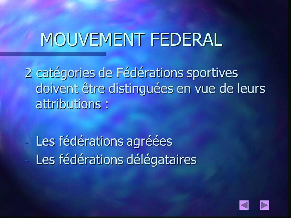 MOUVEMENT FEDERAL 2 catégories de Fédérations sportives doivent être distinguées en vue de leurs attributions :
