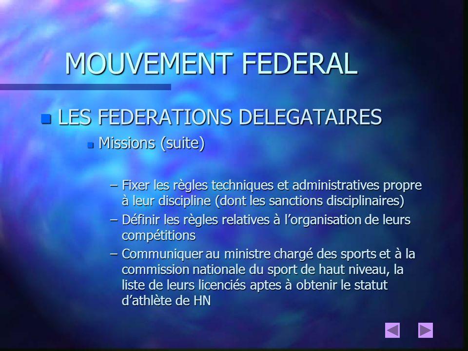 MOUVEMENT FEDERAL LES FEDERATIONS DELEGATAIRES Missions (suite)