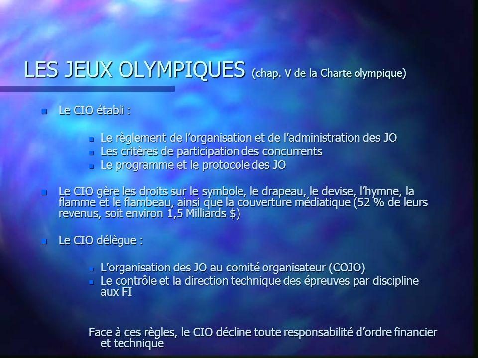 LES JEUX OLYMPIQUES (chap. V de la Charte olympique)