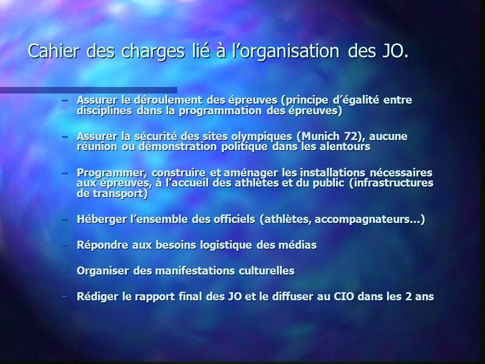 Cahier des charges lié à l'organisation des JO.