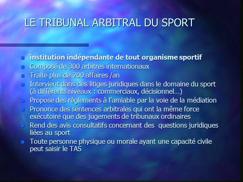 LE TRIBUNAL ARBITRAL DU SPORT