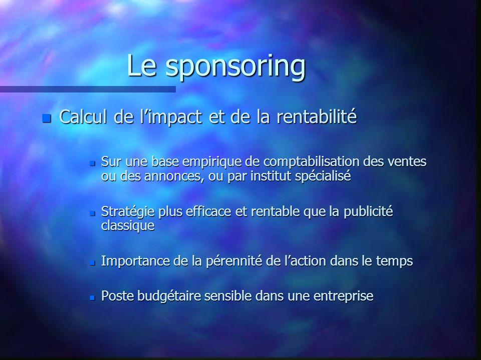 Le sponsoring Calcul de l'impact et de la rentabilité
