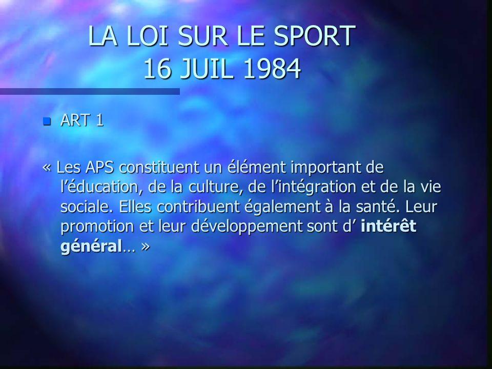 LA LOI SUR LE SPORT 16 JUIL 1984 ART 1