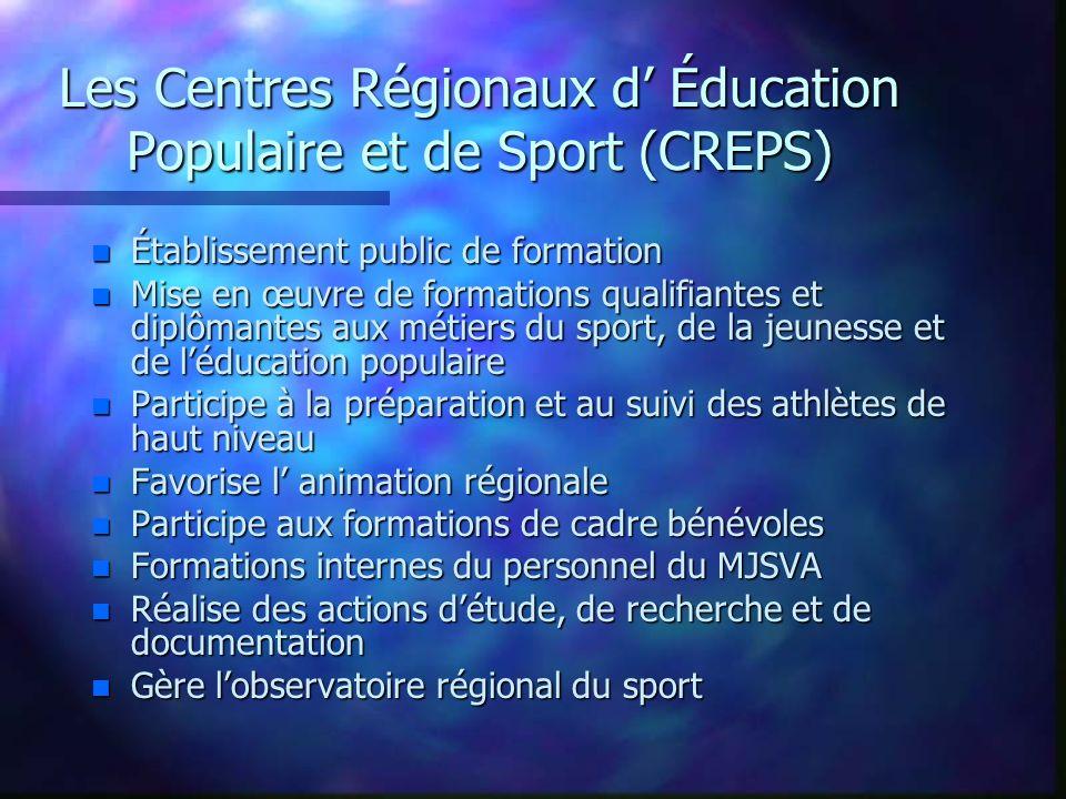 Les Centres Régionaux d' Éducation Populaire et de Sport (CREPS)