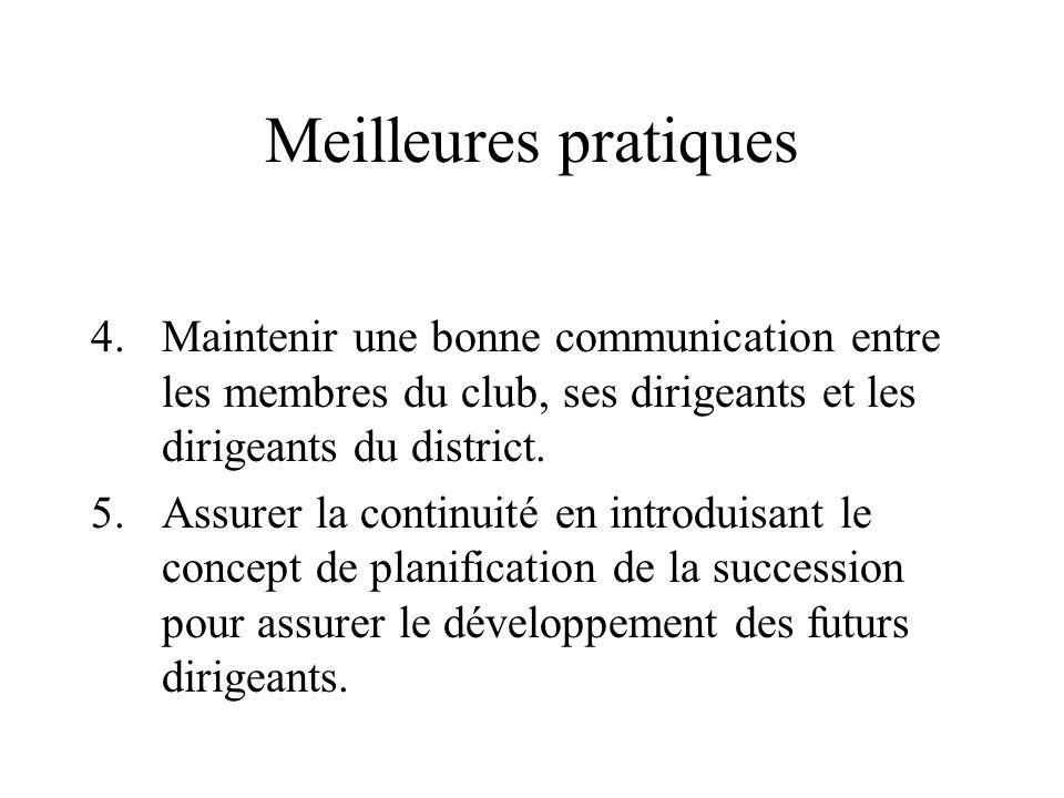 Meilleures pratiques Maintenir une bonne communication entre les membres du club, ses dirigeants et les dirigeants du district.