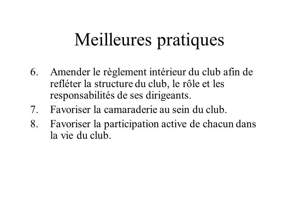 Meilleures pratiques Amender le règlement intérieur du club afin de refléter la structure du club, le rôle et les responsabilités de ses dirigeants.