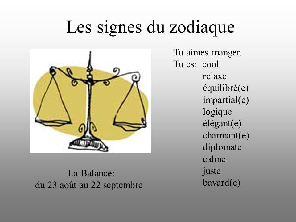 Les signes du zodiaque Tu aimes manger. Tu es: cool relaxe