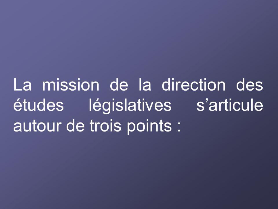 La mission de la direction des études législatives s'articule autour de trois points :