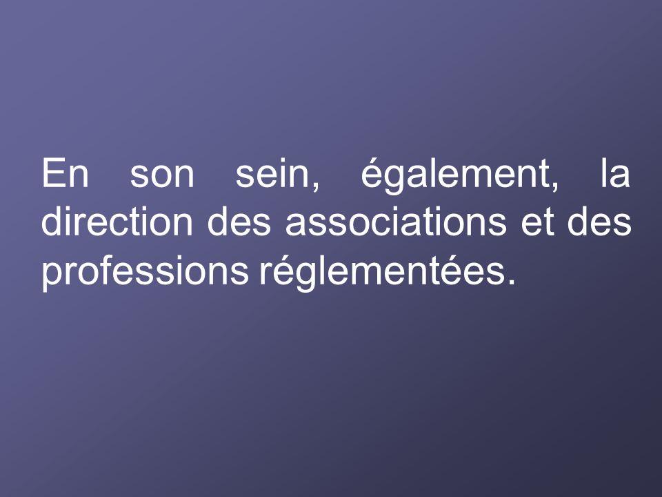 En son sein, également, la direction des associations et des professions réglementées.