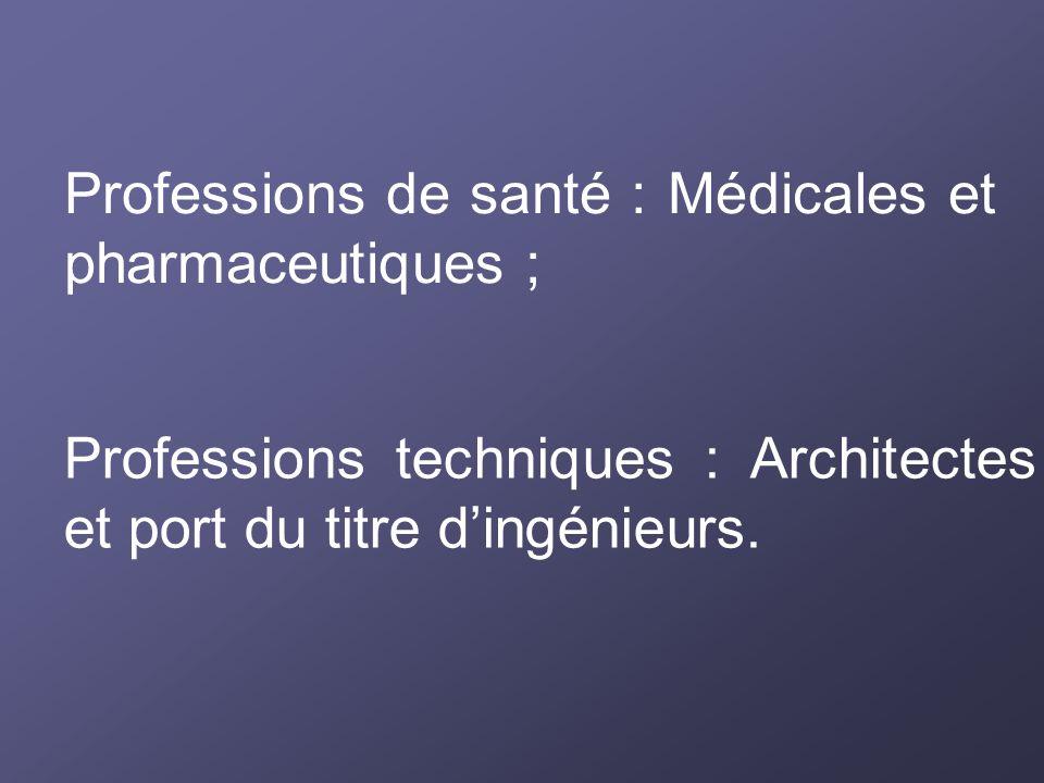 Professions de santé : Médicales et pharmaceutiques ;