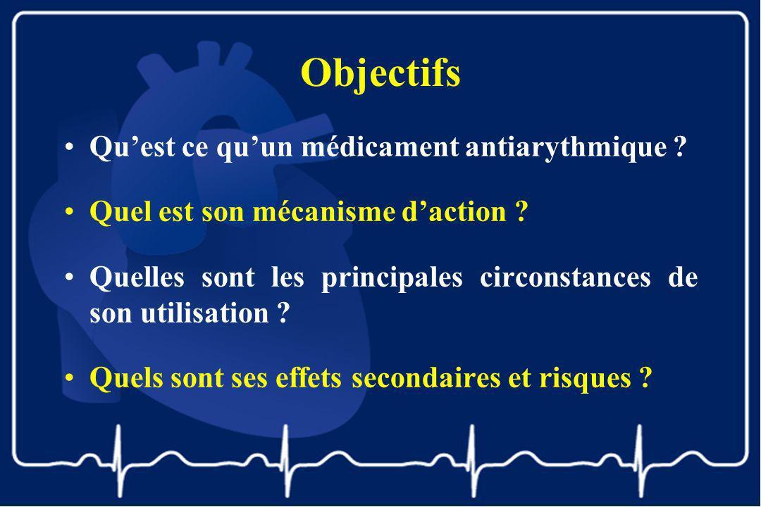Objectifs Qu'est ce qu'un médicament antiarythmique