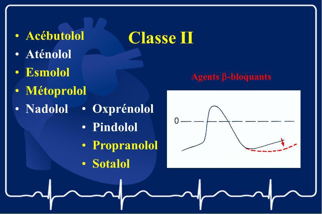 Classe II Acébutolol Aténolol Esmolol Métoprolol Nadolol Oxprénolol