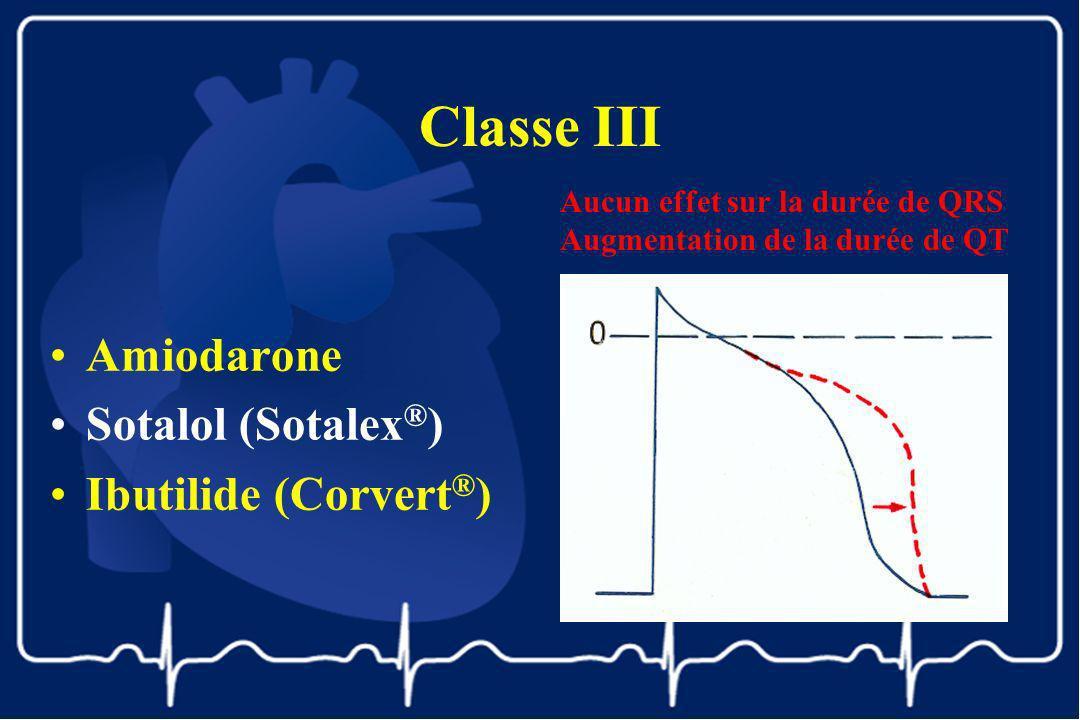 Classe III Amiodarone Sotalol (Sotalex®) Ibutilide (Corvert®)