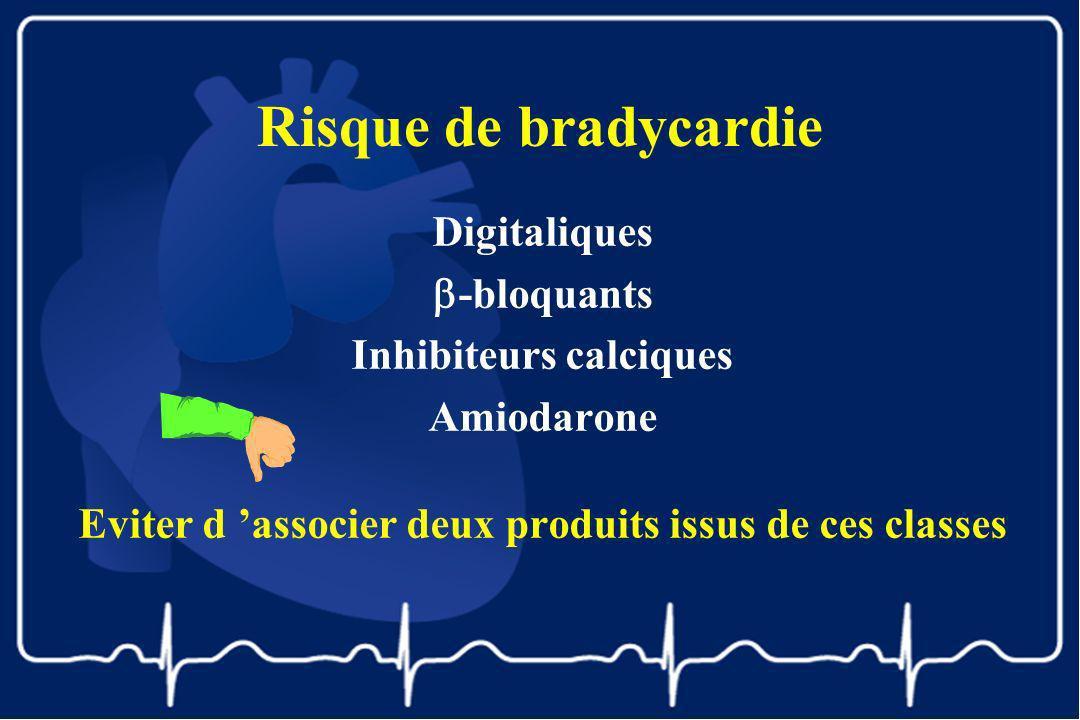 Risque de bradycardie Digitaliques -bloquants Inhibiteurs calciques