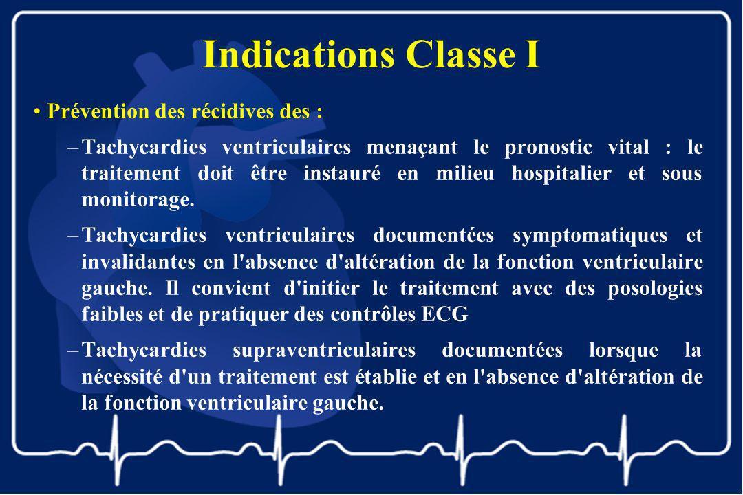 Indications Classe I Prévention des récidives des :