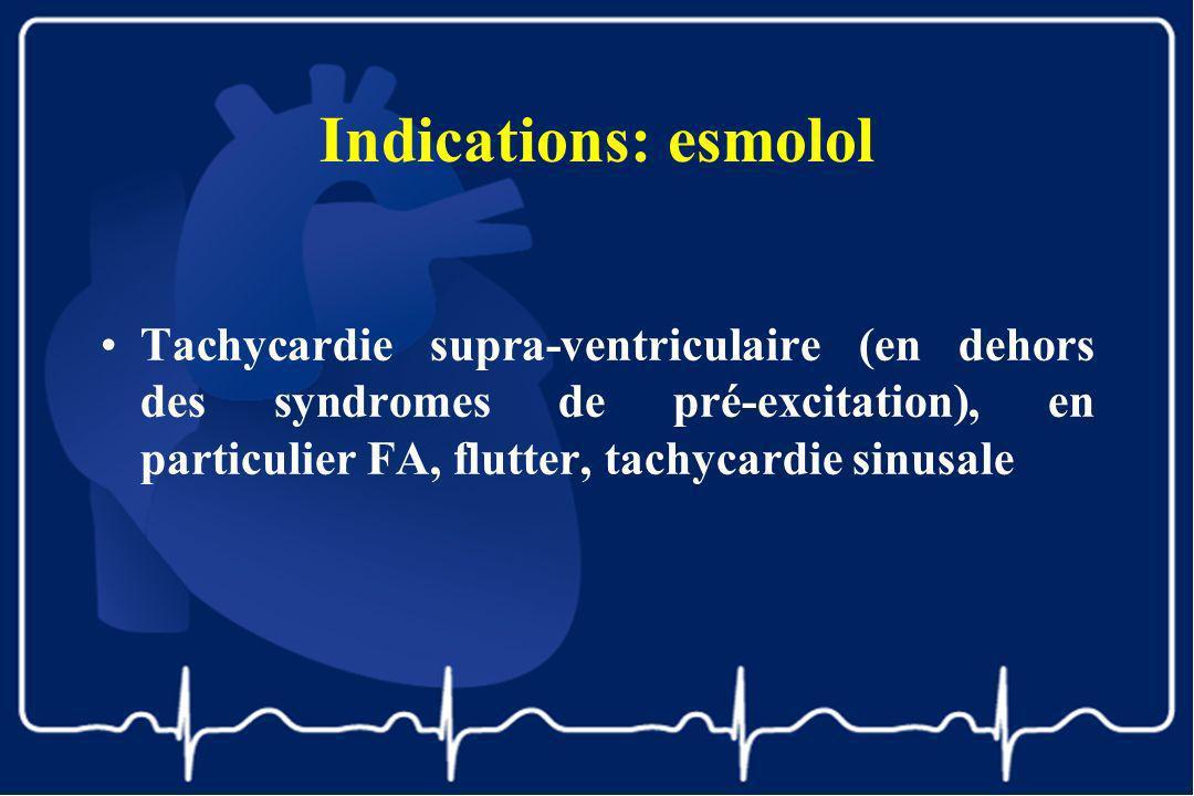 Indications: esmolol Tachycardie supra-ventriculaire (en dehors des syndromes de pré-excitation), en particulier FA, flutter, tachycardie sinusale.
