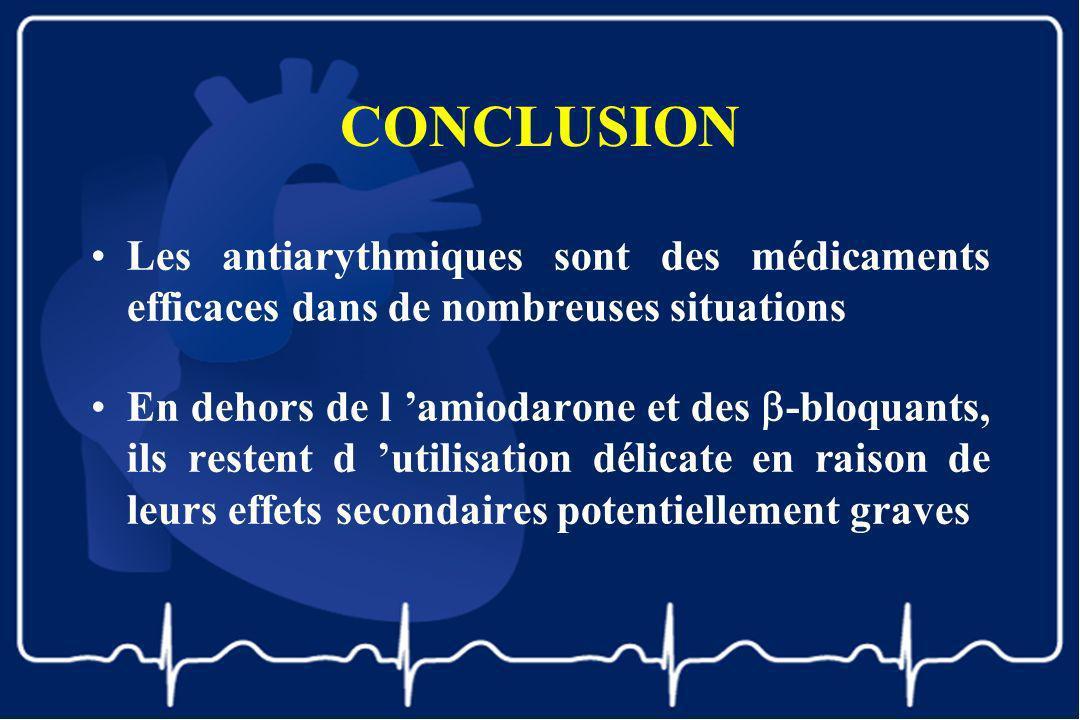 CONCLUSION Les antiarythmiques sont des médicaments efficaces dans de nombreuses situations.