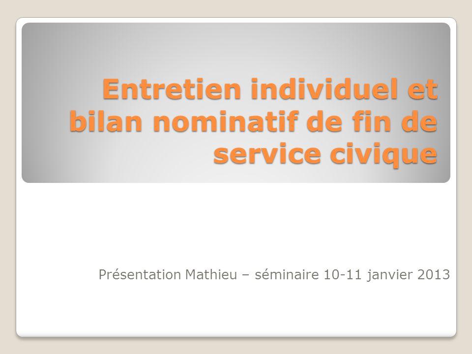 Entretien individuel et bilan nominatif de fin de service civique