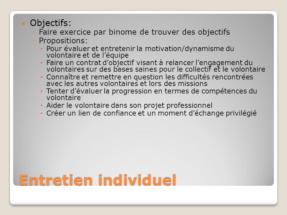 Entretien individuel Objectifs: