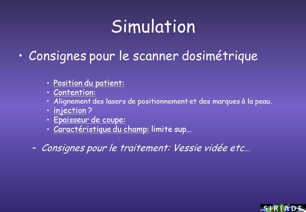 Simulation Consignes pour le scanner dosimétrique