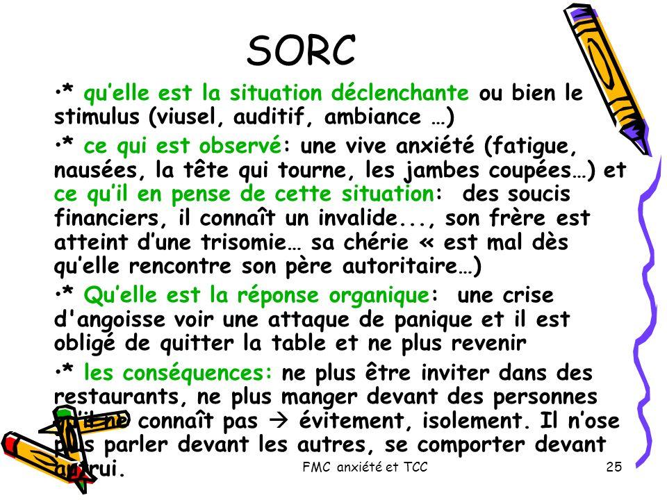 SORC * qu'elle est la situation déclenchante ou bien le stimulus (viusel, auditif, ambiance …)