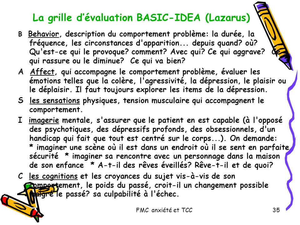La grille d'évaluation BASIC-IDEA (Lazarus)