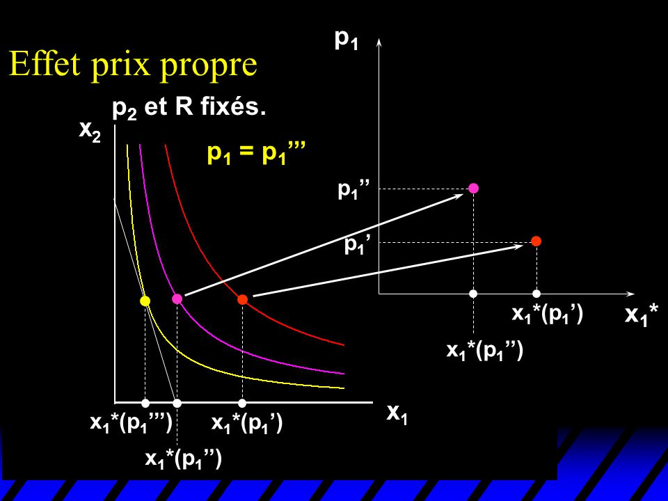 Effet prix propre p1 p2 et R fixés. p1 = p1''' x1* p1'' p1' x1*(p1')