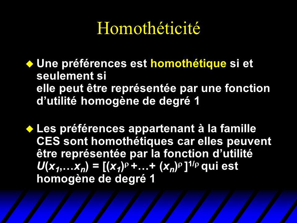 Homothéticité Une préférences est homothétique si et seulement si elle peut être représentée par une fonction d'utilité homogène de degré 1.
