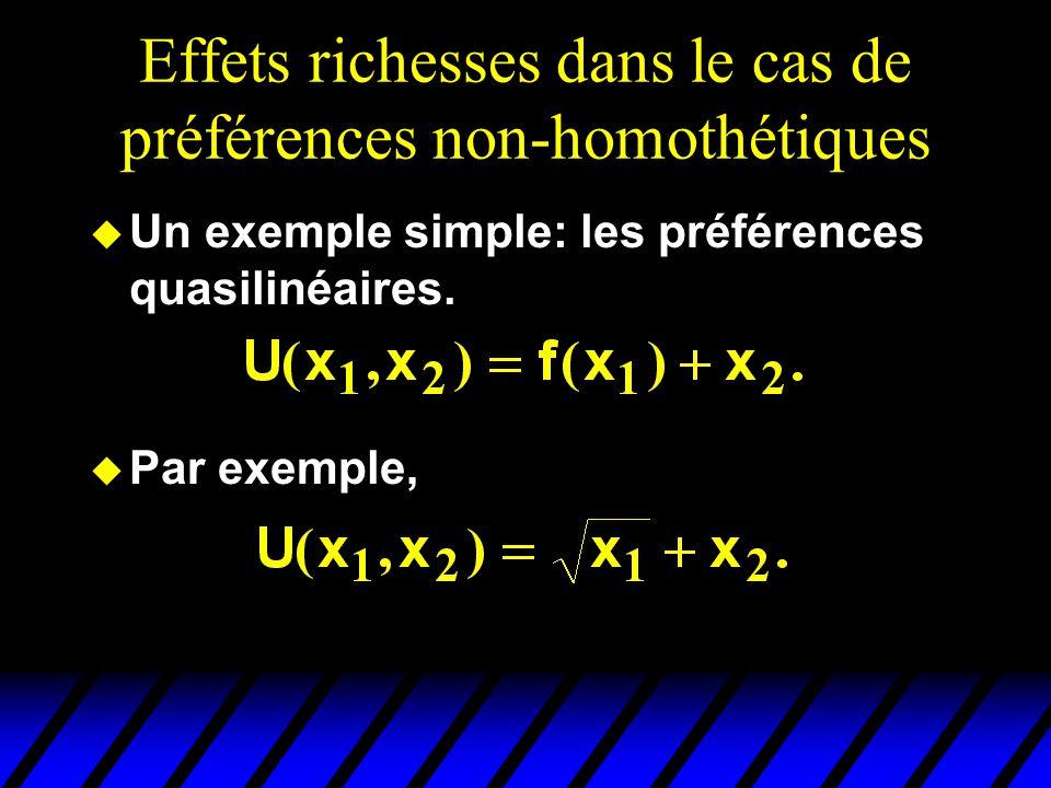 Effets richesses dans le cas de préférences non-homothétiques