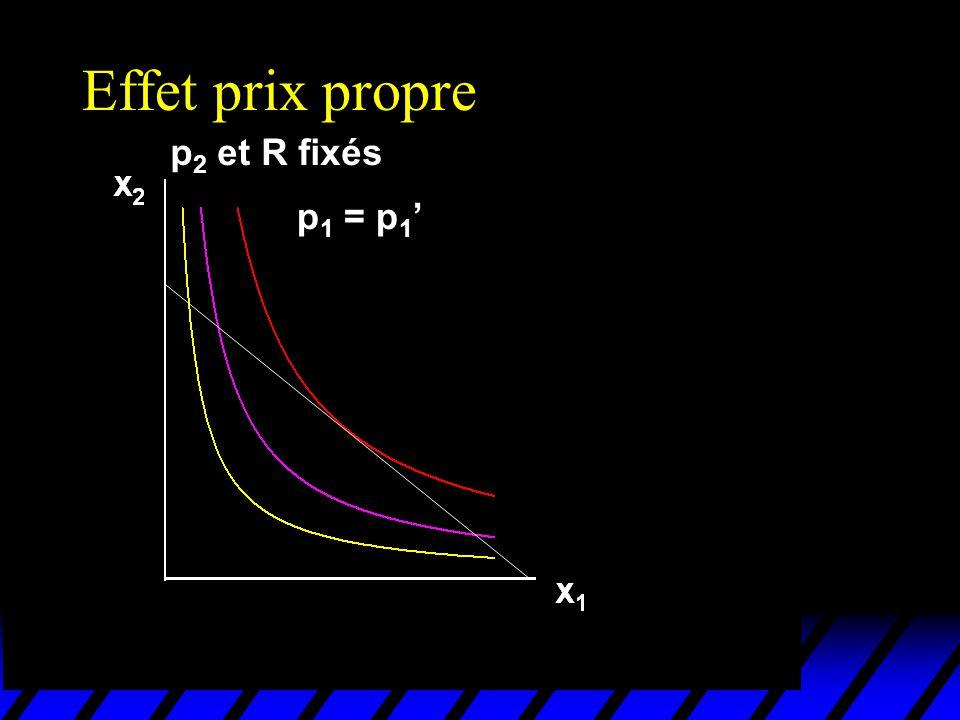 Effet prix propre p2 et R fixés p1 = p1'
