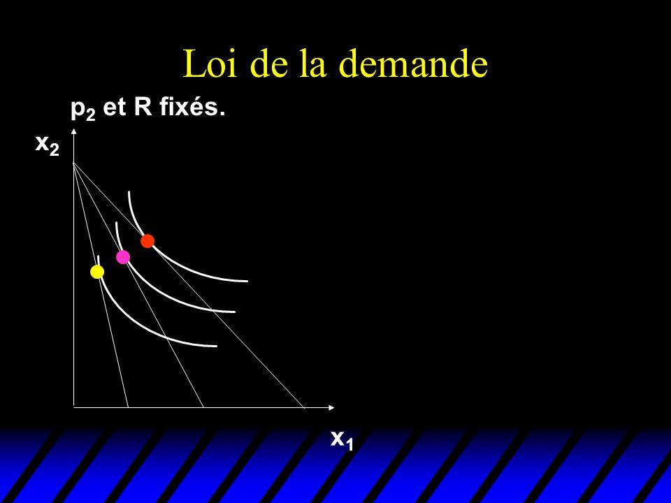 Loi de la demande p2 et R fixés. x2 x1