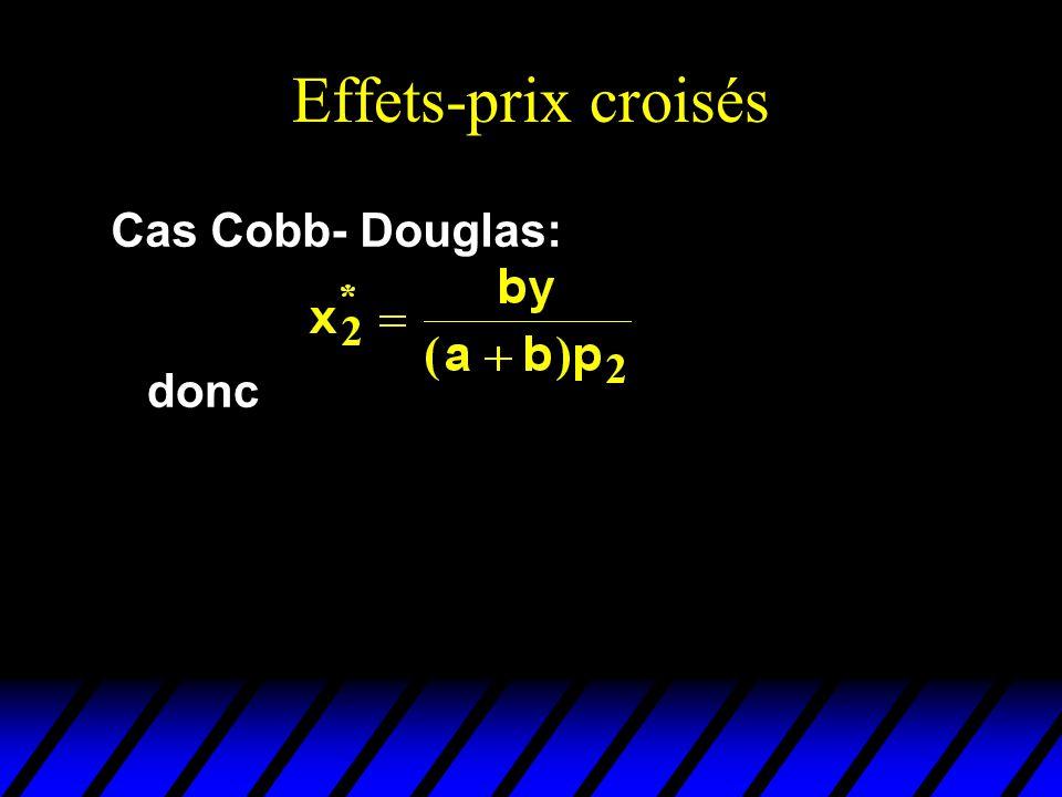 Effets-prix croisés Cas Cobb- Douglas: donc