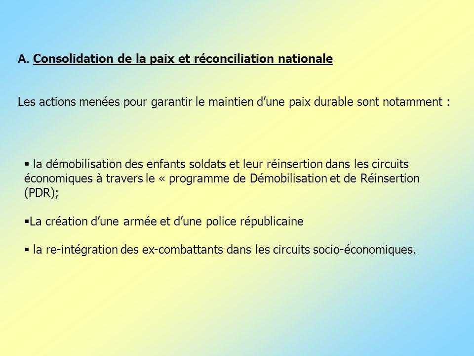 A. Consolidation de la paix et réconciliation nationale