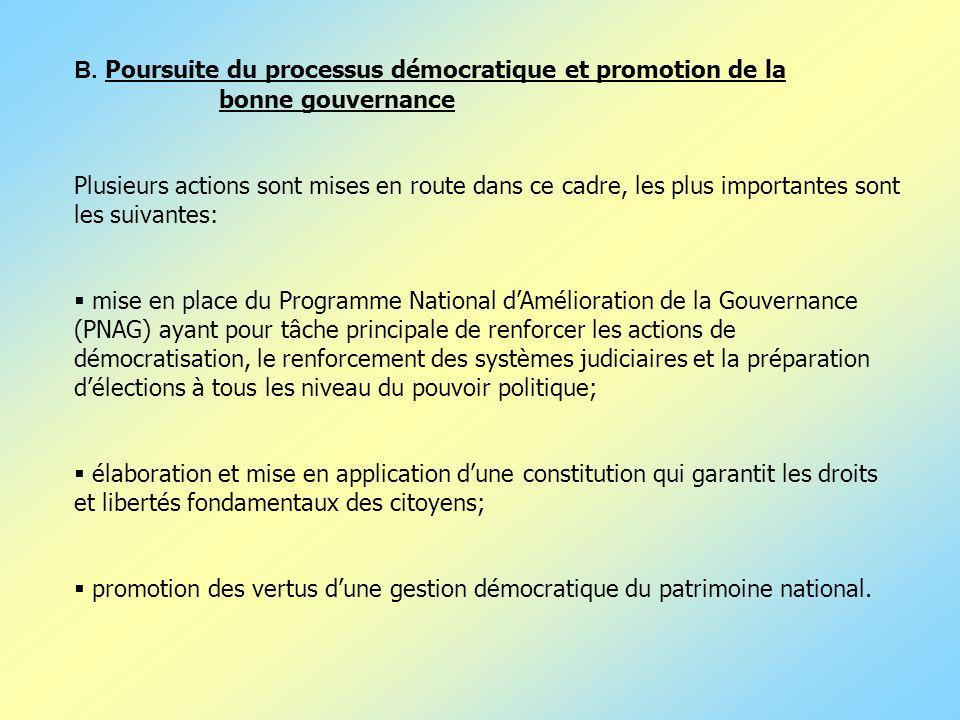 B. Poursuite du processus démocratique et promotion de la