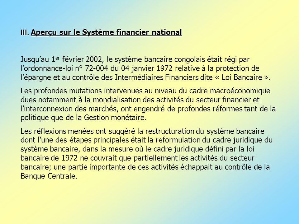 III. Aperçu sur le Système financier national