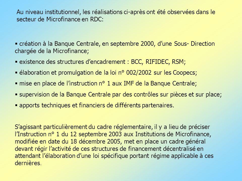 Au niveau institutionnel, les réalisations ci-après ont été observées dans le secteur de Microfinance en RDC: