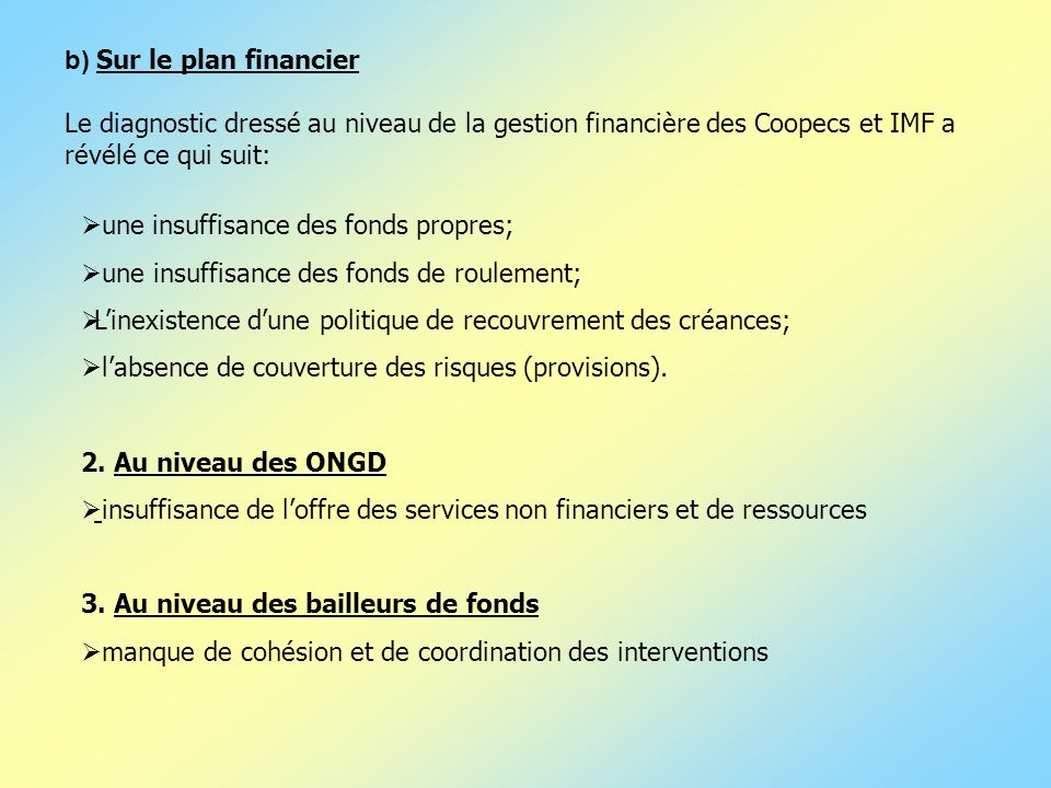 b) Sur le plan financier