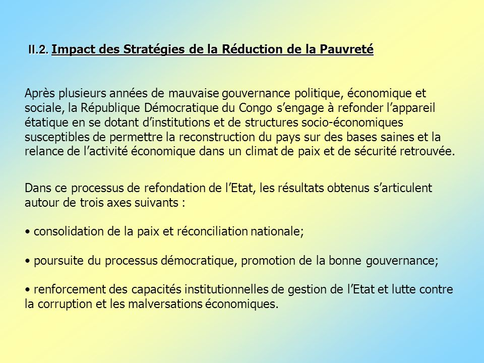 II.2. Impact des Stratégies de la Réduction de la Pauvreté
