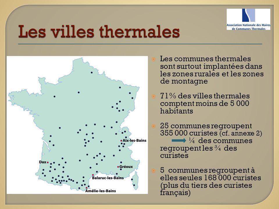 Les villes thermales Les communes thermales sont surtout implantées dans les zones rurales et les zones de montagne.