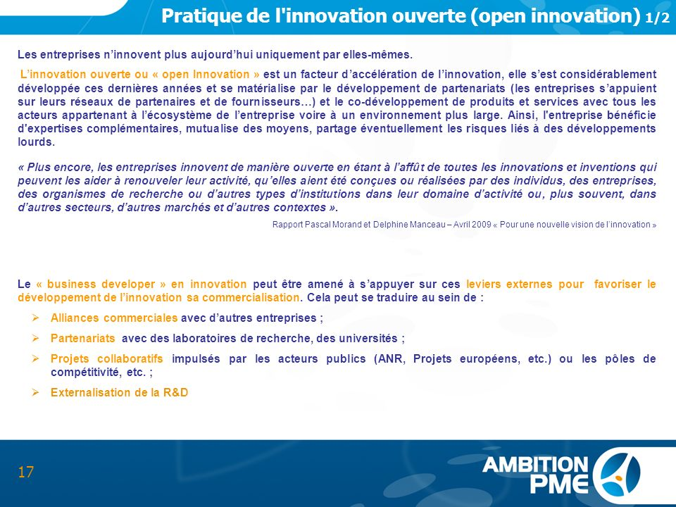 Pratique de l innovation ouverte (open innovation) 1/2