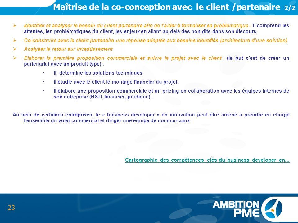 Maîtrise de la co-conception avec le client /partenaire 2/2