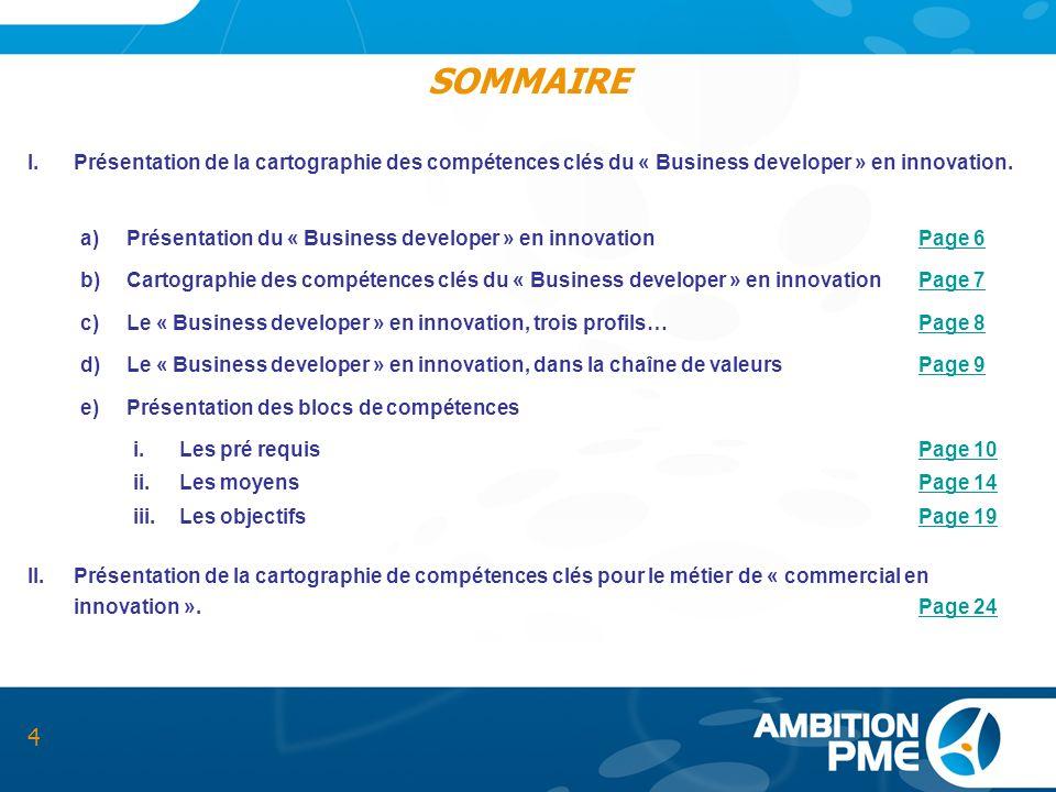 SOMMAIRE Présentation de la cartographie des compétences clés du « Business developer » en innovation.